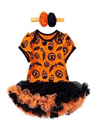 Baby Jungen Mädchen Neugeborenen Kurzarm Kürbis Drucken Strampler Overall Kleidung Tutu Kleid+Stirnband 2 Stück Outfits Halloween Karneval Party Kleid von Innerternet