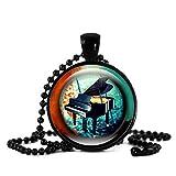 GYXYZB Piano Time Collar De Piedras Preciosas Y Colgantes Collar De Instrumentos Musicales Collar De Cadena con Cuentas Negras