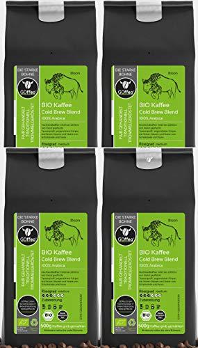 4x 500g Bio Hochland-Kaffee - Cold Brew Blend - gemahlen - 100% Arabica | Hand gepflückt, traditionelle schonende Trommelröstung | Alle Zubereitungsarten