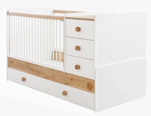 *Cilek NATURA BABY Babybett XL mitwachsend Kinderbett Bett Weiß / Natur, Matratze:mit*