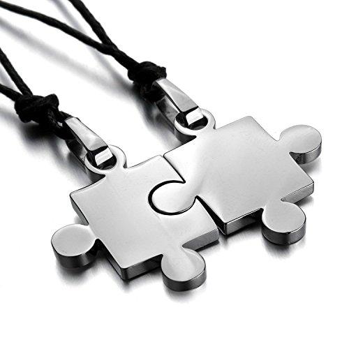 Xiton Hombres, Mujeres 2 Collar Colgante de Acero Inoxidable PCS Rompecabezas Pares del Amor Ajustable 20~22 Pulgadas Cadena