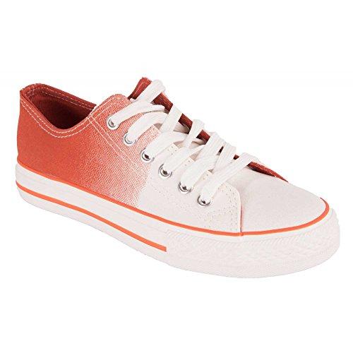 In Bianco Donna Gradazione Bianco Tennis Arancione In Gomma Suola Forma Con Primtex Panno Di OwPZq6a