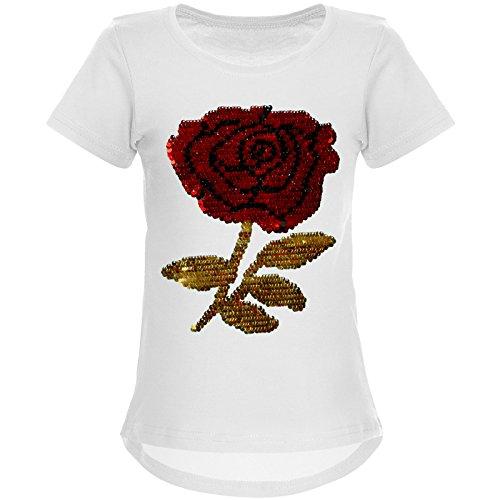 (BEZLIT Mädchen Wende-Pailletten T-Shirt Rose als Motiv 22035, Farbe:Weiß, Größe:116)