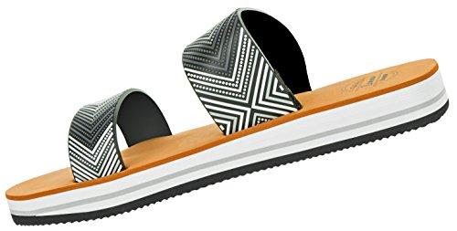 Beppi Damen Sommer-Schuhe Sandalen | Frauenschuhe Mädchenschuhe Strandschuhe | Elegant Modisch Schwarz-Weiß | Größe 37