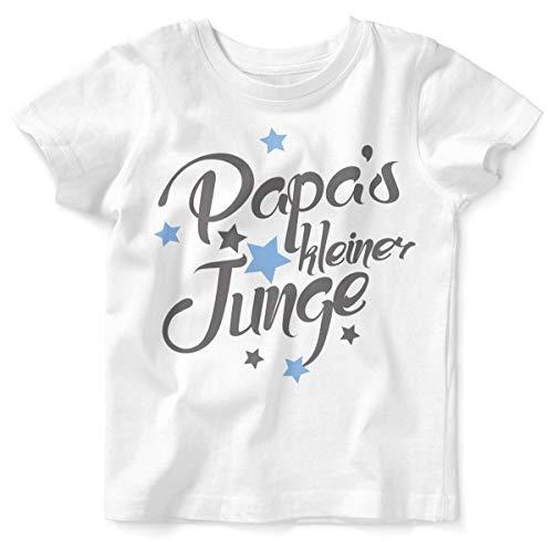 Mikalino Baby/Kinder T-Shirt mit Spruch für Jungen Mädchen Unisex Kurzarm Papas Kleiner Junge | handbedruckt in Deutschland | Handmade with Love, Farbe:Weiss, - Kleinkind Jungen Prinzen Kostüm