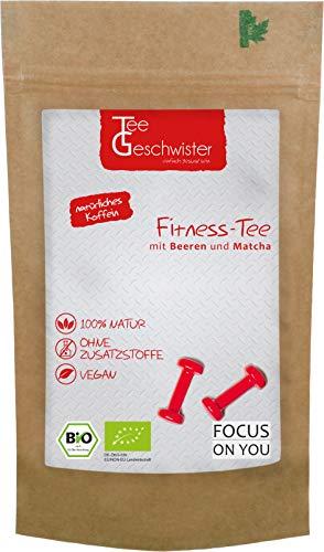 BIO Fitness-Tee | natürliches Koffein aus Grüner-Tee Sencha Matcha & Oolong kombiniert mit Ingwer Himbeeren Erdbeerstücken & Holunderbeeren | Tee-Geschwister | 90g