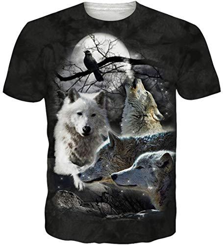 Loveternal 3D T-Shirt Herren Sommer Hawaii Shirt Wolf Muster Casual Grafik Kurzarm Tops Tees S
