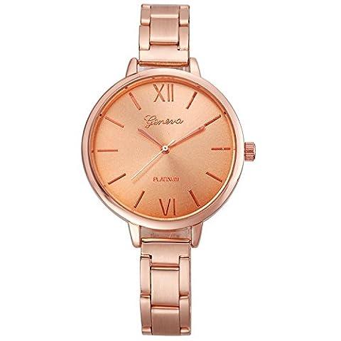 XLORDX GENEVA Femme Luxe Acier Inoxydable Or rose Quartz Analog Montre-Bracelet Wrist Watch
