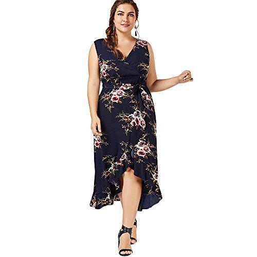 CharMma Frauen böhmischen Plus Size tiefe V-Ausschnitt Blumendruck Strandkleid Purpur