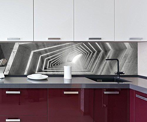 wandmotiv24 Küchenrückwand beleuchteter Beton-Korridor 260 x 60cm (B x H) - Acrylglas 4mm Nischenrückwand Spritzschutz Fliesenspiegel-Ersatz M0794