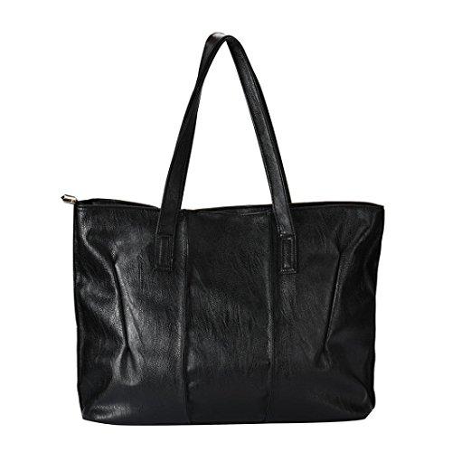 Koly_Tote Bag Lady Fashion borsetta a tracolla in pelle (Nero)