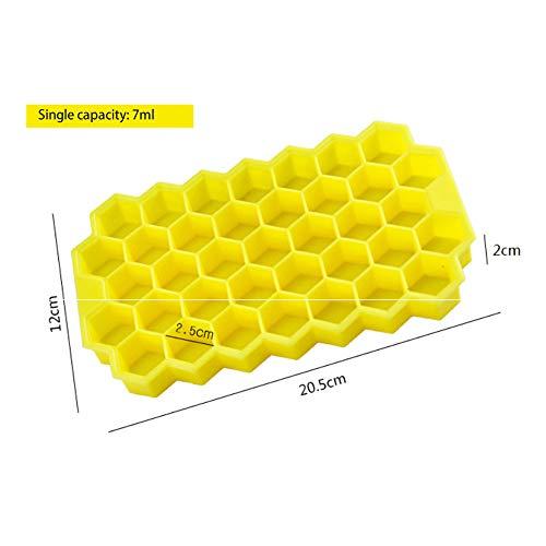 Eiswürfel Silikon Wabenform 37 Gitter Eisgitter 2 mit Deckel recycelbar gelb