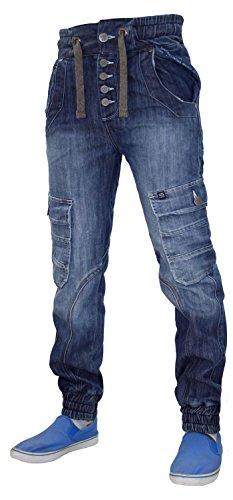 Neue Herren Designer Rawcraft Denim Rib Cuffed Straight Leg Jeans Hosen 3 Styles Skylinx-Mid Wash