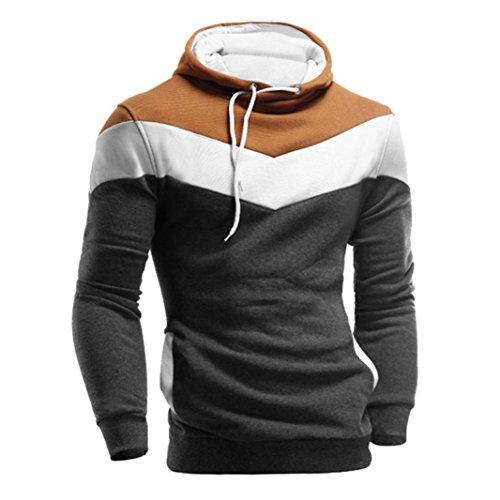 Zolimx Herren Männer Lange Hülse Hoodie mit Kapuze Jacken Mantel Sweatshirt (L, Dunkelgrau)