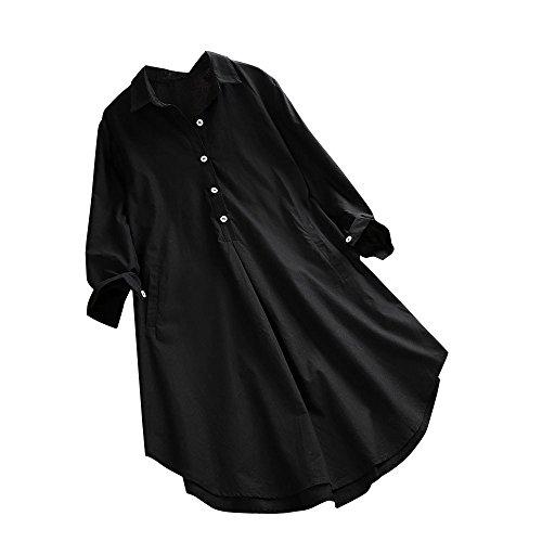 (TEBAISE Damen Leinen Blusen Elegant Langarm Freizeit Oberteil Lose Langarmshirt Tunika Hemd mit Taschen Mode Frauen Sommer Herbst Freien Baumwolle Solide Langarm-Shirt Beiläufige Button-Down Tops)