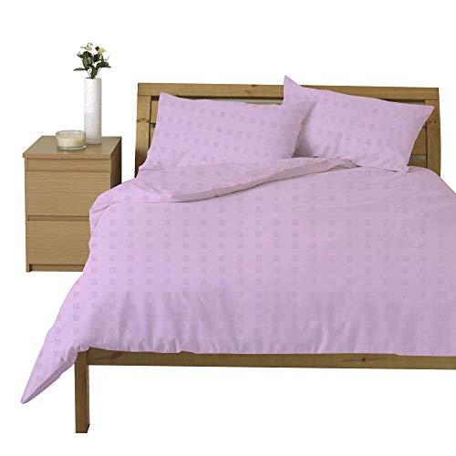 Linentown Bettbezug-Set aus ägyptischer Baumwolle, Fadenzahl 600, Mini-Karos, für Doppelbett/Twin-XL, Lila -
