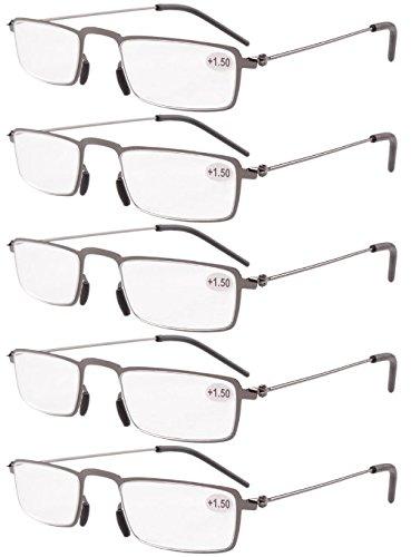 Eyekepper 5 Occhiali da lettura per cornice metallica Occhiali da Half-cerchiati (Gunmetal, 2.25)