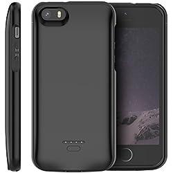 iPhone SE 5SE 5 5S Coque Batterie, 4000mAh Rechargeable Portable Externe Power Bank Batterie de secours Haute Capacité Backup Chargeur Étui de Protection Extra Pack Housse de Protection Noir
