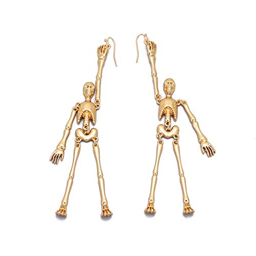 WDTong Damen Herren Punk-Ohrringe In Gold, Skeleton Bones Gothic Beweglichen Teil Spooky Drop Ohrringe Modeschmuck (Jewel Gold Die Prinzessin Rose)
