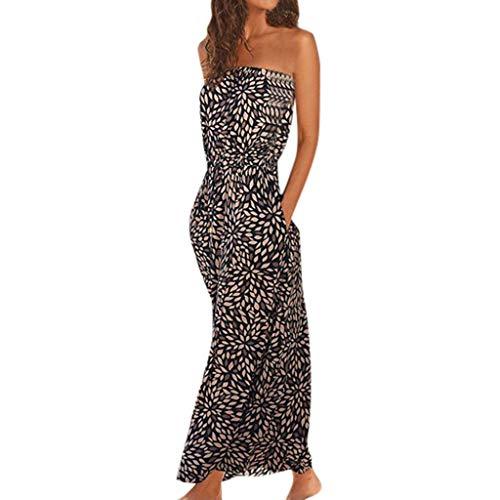 Writtian Damen Chiffon Maxikleid Elegant Blumen große größen Leinenkleid für den Sommer Tube Top Kleid Casual Kleid Boho Look Strandkleider (Slim Shirt 16 36 37 Dress)