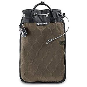 Pacsafe Travelsafe 5L – Mobiler Safe mit TSA-Zahlen Schloß, Trage-Tasche mit Anti-Diebstahl Technologie, 5 Liter Volumen, Beige/Sand