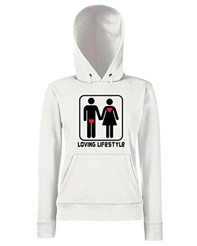 T-Shirtshock - Sweats a capuche Femme T0001 LOVE Blanc
