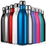 Invool de Botella de Agua de Acero Inoxidable,diseño de Pared Doble,Boca estándar,para Correr, Gimnasio, Yoga, Ciclismo,750ML,Azul