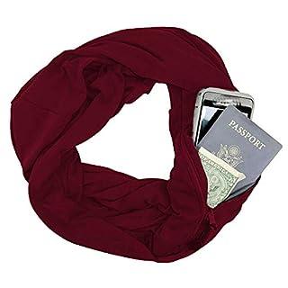 AmaSells Damen Schal Herbst Winter Weicher Druck Warmer Loop Schal Reißverschluss Geheimtasche Schal Ring,Geschenkidee für Frauen und Mädchen (Wein)
