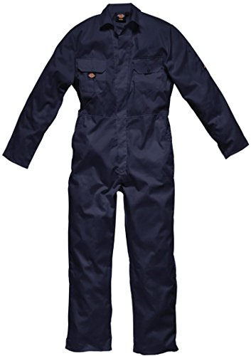 Dickies Coverall Overalls Boiler Suit Redhawk Stud Economy Mens Concealed Stud Front Two Swing Pockets Pen Pocket On Sleeve Two Chest Pockets With Studded Flaps One Back Patch Pocket Full Back Elasticated Waistband Hardwearing Functional Workwear Wd4819 Navy Xl (48-50'' Chest)