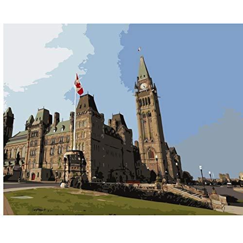 XIGZI Gotische Wiederbelebung Kanada Ottawa Ontario DIY Färbung durch Zahlen Wanddekoration Malerei 40X50 cm,Mit Holzrahmen,A