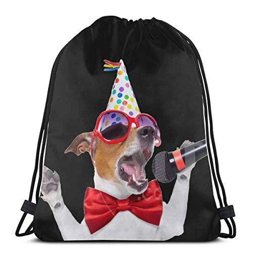 fengxutongxue Dog Karaoke Microphone Party Novelty 3D Print Shoulder Drawstring Bag Backpack String Bags School Rucksack Gym Sport Bag Lightweight