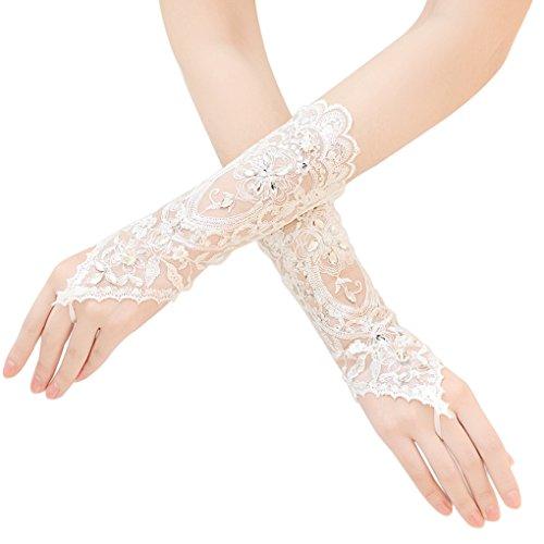 BXT Medium Lange Spitze Strass Brauthandschuhe Hochzeit Fäustlinge Bestickter Spitze Handschuhe mit Gurte Diamant Fingerlose Handschuhe Brautkleid Zubehör für Hochzeitsfeier Partys, 1 Paar, Länge 23cm (Zubehör Brautkleider)