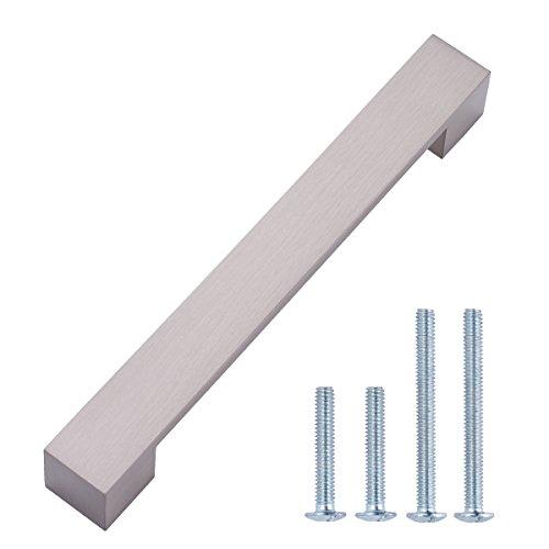 AmazonBasics - Maniglia per mobili, corta, stile moderno, Lunghezza 19,2 cm (interasse 16 cm), Nichel satinato, Confezione da 10