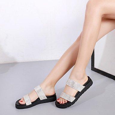 Rugai-eu Summer Fashion Femmes Sandales Casual Pu Chaussures Confort Talons Marche Extérieure, Champagne, Us8.5 / Eu39 / Uk6.5 / Cn40 Argent