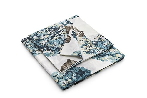 Luna di Giorno Stampa Ortensie Set Lenzuola matrimoniali Piazza e Mezza, 100% Cotone, Blu, 260 x 275 cm