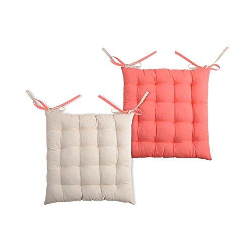 Galette de chaise carrée 40x40 100% Coton Lin-Corail DUO