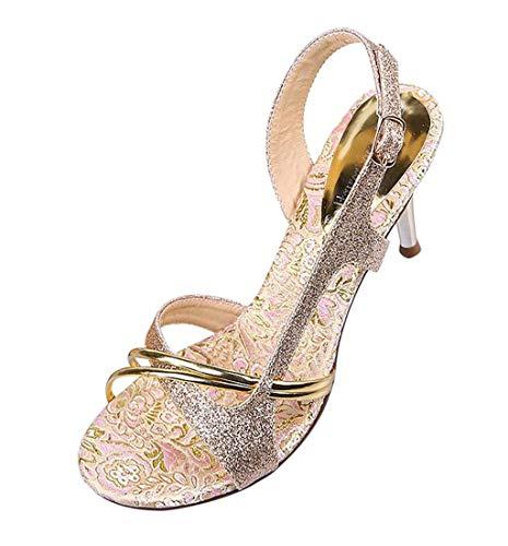 HupoopFrauen Bling Sticken Party Dance Peep Toe hohe Spike Heels Sexy Sandalen Schuhe(Gold,34) Spike Heel