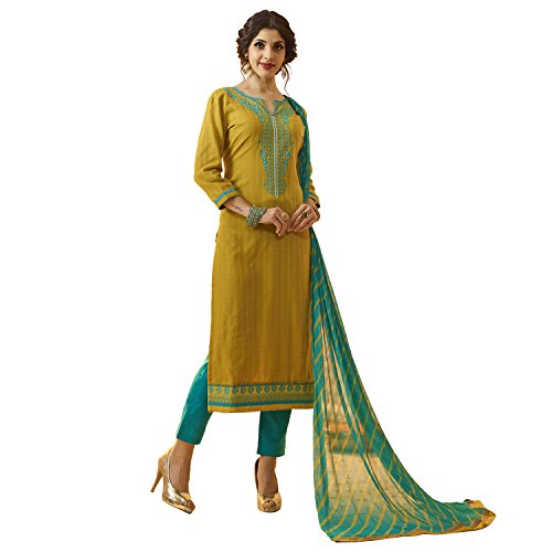 Kvsfab Women's Yellow & Teal Colour Cotton Un Stitched Dress Material [KVSSK10084AND_3]