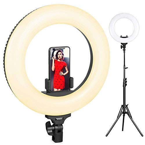 Ring Light LED, ESDDI Luce Anulare 18 Pollici Kit Bi-color 3200k-5600k con Supporto Leggero e Hot Shoe per Fotocamera Smartphone, Youtube, Vine, Autoritratto, Ripresa Video