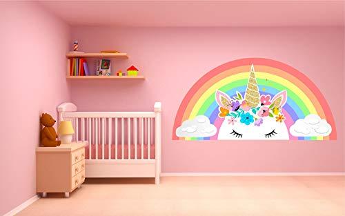 Kapowboom Graphics PASTEL UNICORN RAINBOW CLOUDS WALL STICKER decal art nursery cute girl