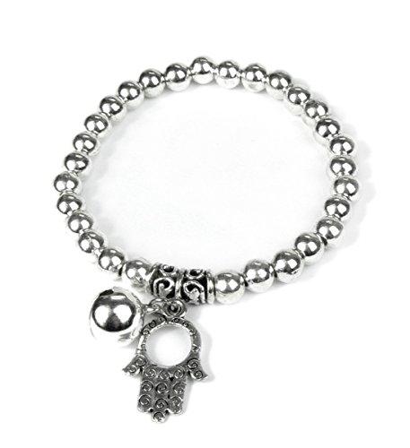Lovely Lauri Modeschmuck Armband Hand der Fatima Hamsa Glocke silber