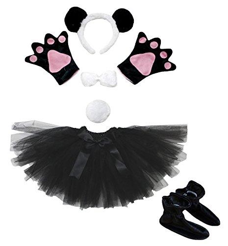 petitebelle Panda Stirnband Schleife Schwanz Handschuh Rock Schuhe Heißklebestifte Kostüm für Mädchen