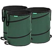 Songmics Bolsas Pop up para desechos de jardín Saco para residuos 3 unidades 160L Verde GTS160L