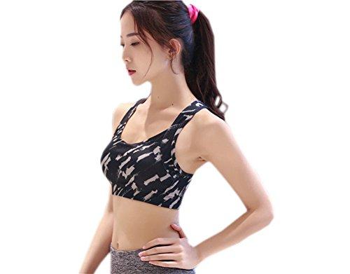 GGTFA Donne di Base Camouflage Croce Brevi Palestra Fitness Sport Allenamento Yoga Reggiseno Raccolti di Cime Nero