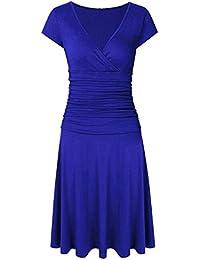 Clearlove Women V-Neck 3/4 Sleeve Tummy Control Slim Dress