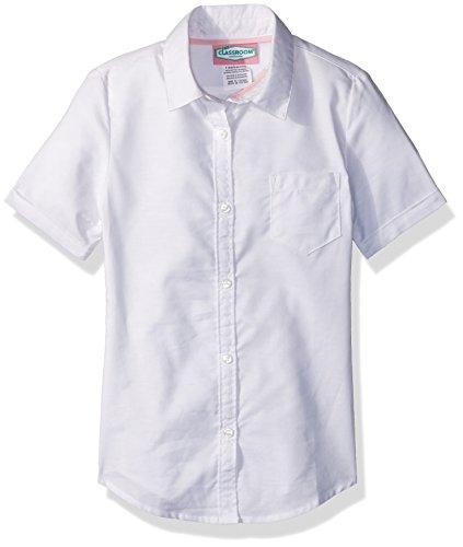 Classroom Uniforms Mädchen Girls Short Sleeve Oxford Shirt  Button Down Hemd  -  weiß -  (Down Button Uniform Oxford)