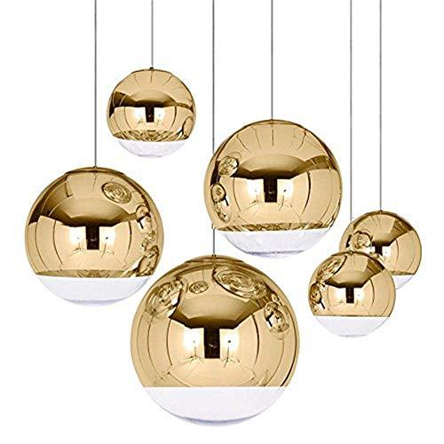 Nordic Pendelleuchten Globe Glas Pendelleuchte Chrom spiegel Kugel Hängeleuchte moderne Home Beleuchtung Küche Lampen (Golden, 15 cm)