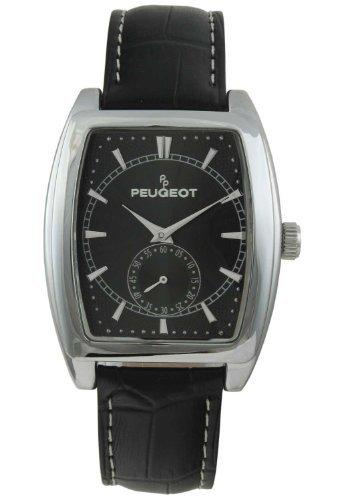 Peugeot 2027bk–Montre de Poignet pour homme, bracelet en cuir noir