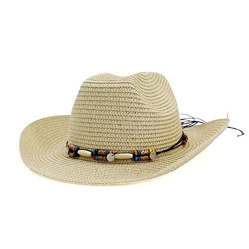JIU-HAT Sonnenhut Sommerhut Stroh Cowboyhut Retro Sommerhut Herren Damen Kostüm Sonnenhut (Farbe : Khaki, Größe : 56-58CM) (Julia Kind Kostüm)
