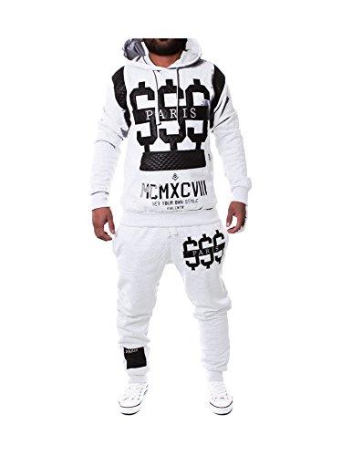 Leder Herren Jogging Anzug Jacke Sport Hose Fitness Hoodie Hose S16 S-XXL Weiß